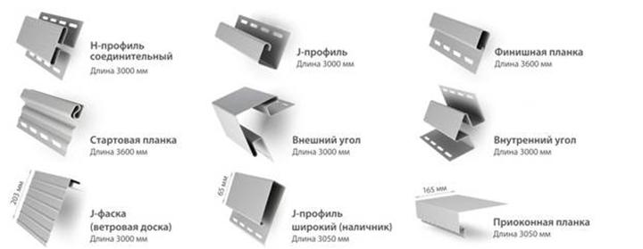 Наборы комплектующих аксессуаров для монтажа сайдинг-панелей включают все необходимые для выполнения обшивки элементы