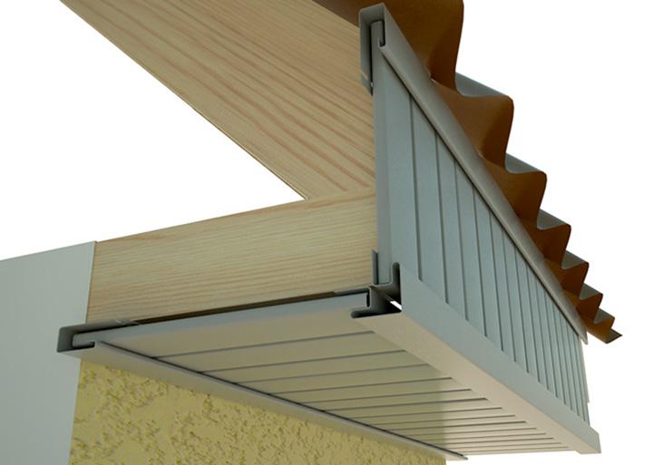 Декоративный аксессуар в виде J-образной профильной планки предназначен для выполнения отделки лобовых досок, расположенных в подкровельном пространстве фасадной части зданий