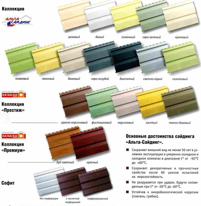 Сайдинговые панели  «Альта-Профиль» выпускаются в широком и очень богатом ассортименте