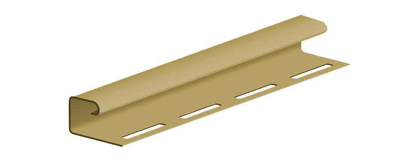 J-образный профиль, применяемый для обрамления сайдинга на торцах фронтонов при наличии наклонного среза панелей и на вертикальных срезах, обустройства оконных и дверных проёмов, а также при необходимости выполнения замены наружного или внутреннего непрямого угла
