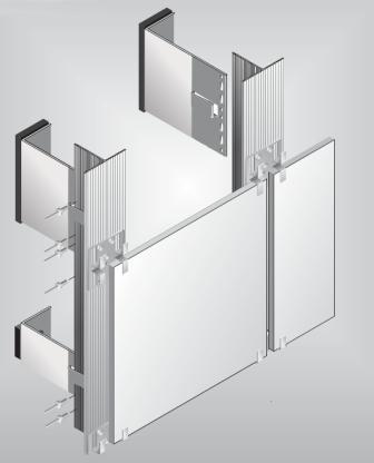 Облицовочные алюминиевые панели могут крепится несколькими способами. На рисунке кляммер