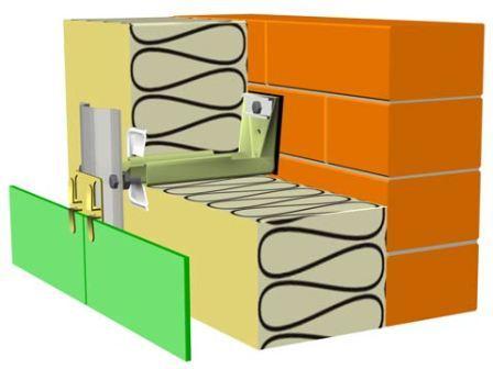 Облицовочный материал (панцирь фасада) – крепится на кронштейны достаточной длины