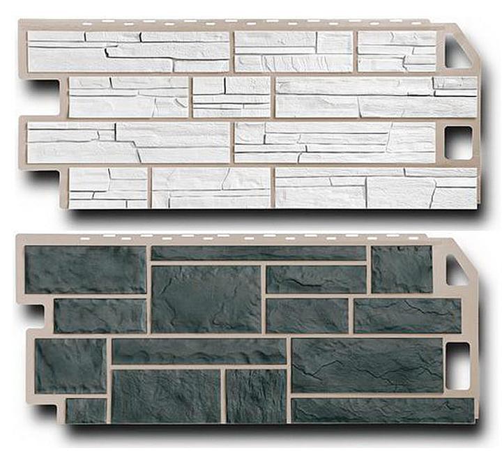 Цокольный сайдинг представляет собой литой или прессованный тип панелей, которые обладают внешним сходством с определёнными отделочными материалами
