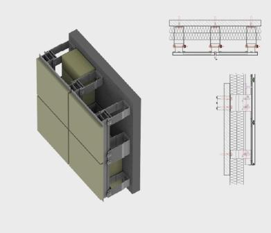 Подсистема навесного фасада монтируется на кронштейны. Рассчитывается под вес облицовочного материала