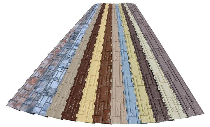 Фасадный вариант сайдинговых панелей под камень обладает разной текстурой и цветом