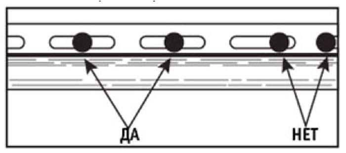Гвоздь или саморез должен входить в середину отверстия на гвоздевой планке панели