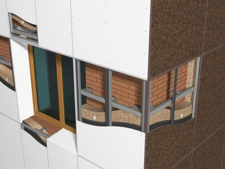 Подсистема фасада рассчитывается исходя из веса облицовочных материалов. Тяжелый фасад – прочный каркас