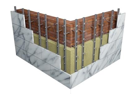Подсистема вентфасада позволяет скрыть дефекты стен и произвести монтаж в кратчайшие сроки