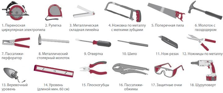 Основные инструменты для самостоятельного монтажа сайдинга