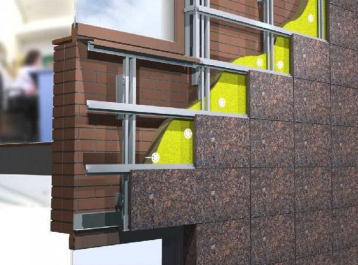 Вентилируемый фасад предполагает наличие пространства между облицовочным слоем и поверхностью стены
