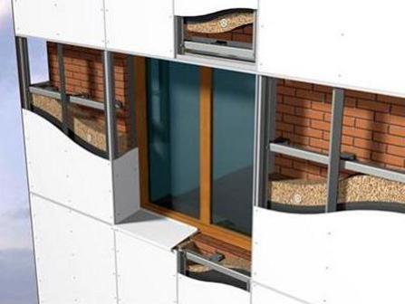 Подсистема фасада (каркас) из оцинкованной стали способна выдерживать значительные нагрузки