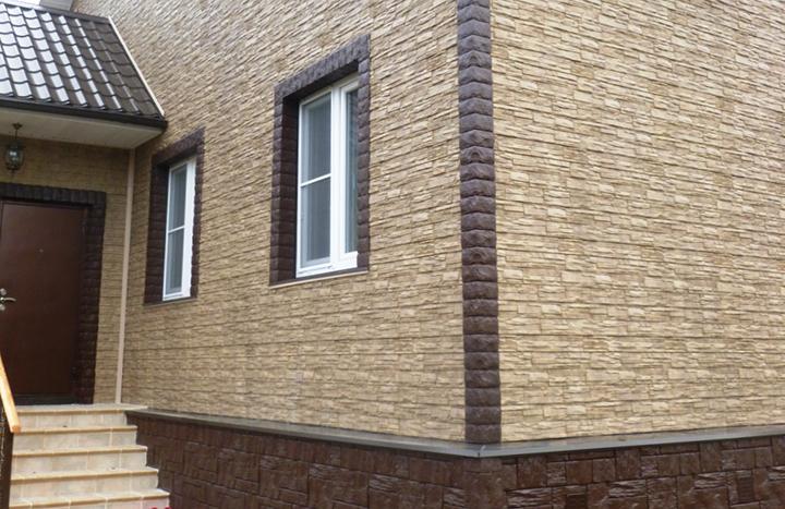 Материал компании «HolzPlast» ориентирован на выполнение отделки цокольной части зданий и с успехом применяется для дизайна фасадной части