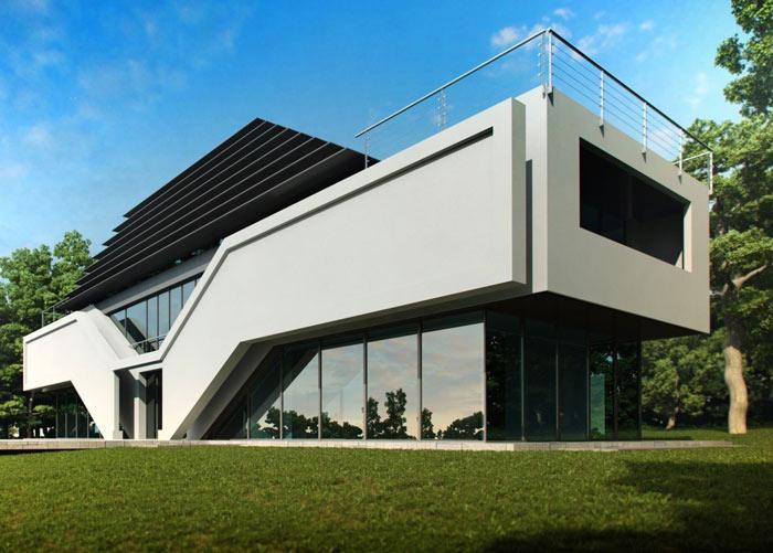 Стилю  хай-тек присуще или полное остекление фасада, или большие окна, сочетающиеся со строгостью геометрических форм