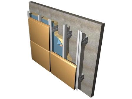 Монтаж металлокассет осуществляется на каркас – подсистему фасада